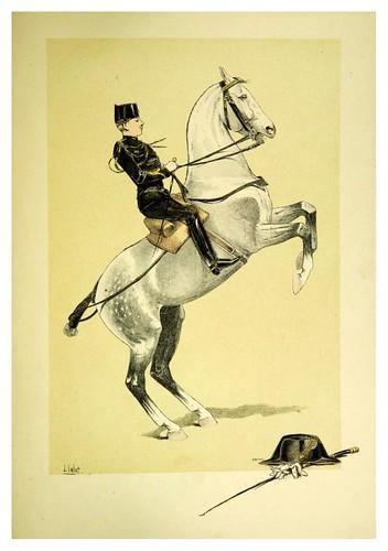 033- Ayudante de picadero montando su caballo de saltos libremente-Le chic à cheval histoire pittoresque de l'équitation 1891- Louis Vallet