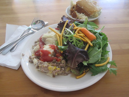 sheppard's pie, salad, cake from the bistro - $6