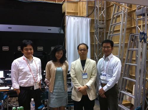 ワイヤレスジャパン会場でのPodcast公開収録が終了。パーソナリティの @DOMINOMARU さん、 toyomisato1022 さんと、ゲストの @sakamos さん、僕。 #AppleCLIP #wj2010