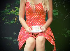 polka dot tea party (Shandi-lee) Tags: china blue red summer white canada cute cup nature girl fashion vintage garden ruffles outside outdoors alone sitting dress tea young naturallight polka dot lolita blonde teacup hm summerdress saucer teaparty polkadot polkadotdress hennesmauritz july2010 summerfrock shandilee shandi1337
