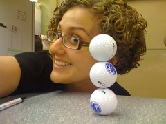 174/365 (Fuschia Foot) Tags: tower ball hair golf glasses rachel curls stack curly 365days stackinggolfballs