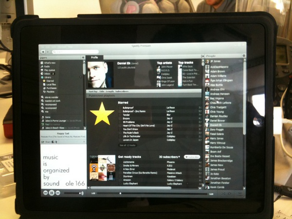 Spotify on iPad PC display