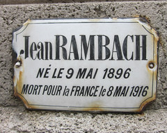 Enamel plaque in memory of Jean Rambach, mort pour la France in 1916 (Monceau) Tags: plaque soldier wwi enamel mortpourlafrance jeanrambach