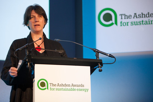 Lucy Conway, Isle of Eigg Heritage Trust, speaking at the 2010 Ashden Awards ceremony at the Royal Geographic Society.