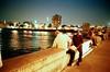 Cairo (Urban Highways) Tags: leica urban film night analog river fishing cityscape fishermen dusk egypt rangefinder nile cairo arab 3514 onthebridge nileriver kodakportra400nc 26thofjulybridge