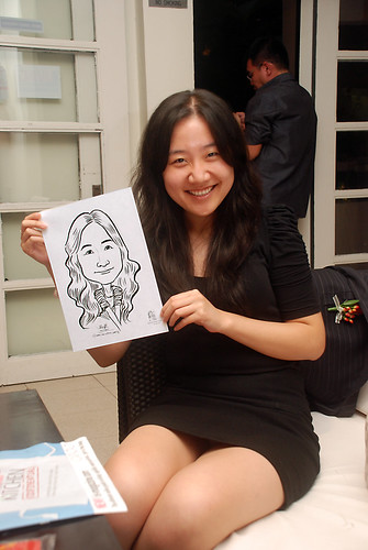 caricature live sketching for David & Christine wedding dinner - 9