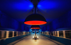 D.R.F.S.B (Dangerously Red Flying Salad Bowls) (Philipp Klinger Photography) Tags: blue light shadow red motion blur window lamp station wall architecture speed train germany bench subway munich mnchen bayern deutschland bavaria flying salad movement nikon angle metro tube wide tunnel ufo symmetry ceiling motionblur ubahn walls bowls philipp ubahnstation metrostation klinger dangerously westfriedhof superaplus aplusphoto d700 dcdead vanagram dangerouslyredsaladbowls drfsb dangerouslyredflyingsaladbowls