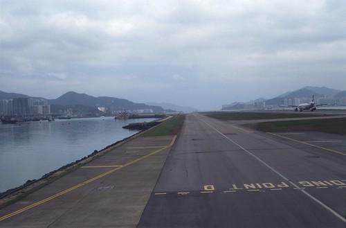 啓徳空港への着陸
