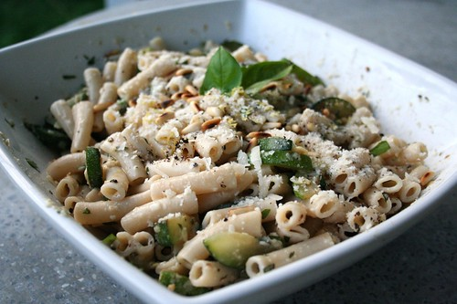 Penne with Deconstructed Zucchini Pistou