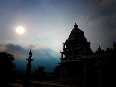 Every man is the builder of a temple (legends2k) Tags: light sky sun silhouette clouds temple lumix evening twilight dusk faith belief panasonic g1 hyderabad ra secular henrydavidthoreau gopuram suriya ramojifilmcity fourthirds  microfourthirds panasonicdmcg1