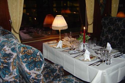 Swiss luxury train's dining carriage