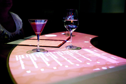 Interactive wine menu at the bar