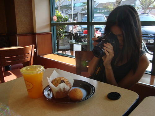 Nancy photo-ing her breakfast