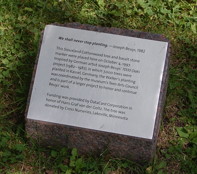 Plaque for installation inspired by Joseph Beuys' 7000 Oaks