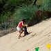 Baby steps up the dune
