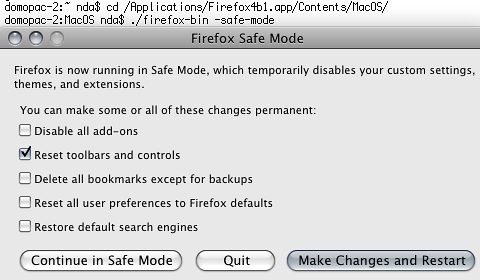 Firefox 4 b2 on Mac - safe mode