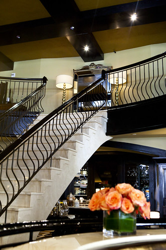 Stairs leading up to the private dining rooms