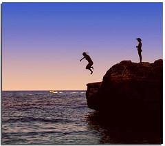 It's time to dive ! (Nespyxel) Tags: sardegna seascape evening dive silhouettes tuffo calagonone calamariolu golfodiorosei challengeyouwinner nespyxel stefanoscarselli pleasedontusethisimageonwebsites blogsorothermediawithoutmyexplicitpermissionallrightsreserved