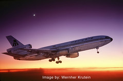DC-10 landing (Wernher Krutein) Tags: travel plane airplane commerce technology publictransportation aircraft aviation transport jet transportation airline airliner aerospace flyingmachine passengerplane commercialaviation civilaviation