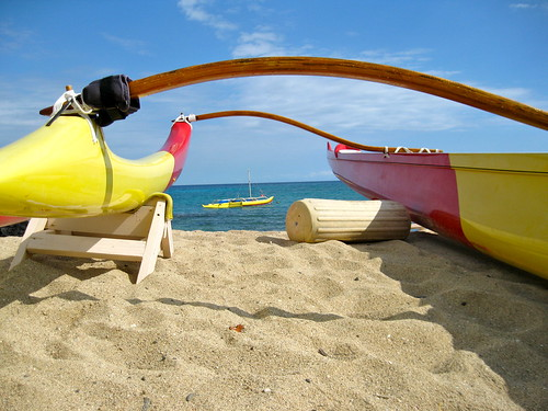 Two views of the Wa'a ~ the outrigger canoe