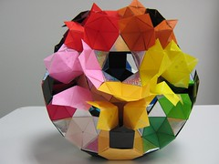flat-unit-rotunda-drilled-great-rhombicosidodecahedron-75-percent-complete.3 (Origami Tatsujin 折り紙) Tags: art colors paperart origami geometry multicolored papiroflexia papercraft papercrafts polyhedra modularorigami geometricbeauty geometricart colorfulart