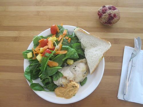 chicken, hummus, salad, peruvian sandwich, muffin from the bistro - $6