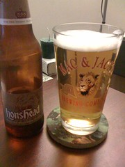 Lions Head beer in a glas with a Lion's head