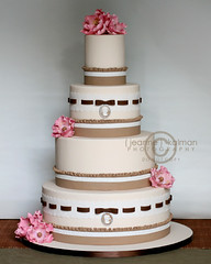 Ribbons and Lace (The Well Dressed Cake) Tags: pink flowers wedding brown cake ruffles ribbons lace ivory round cameo bows taupe
