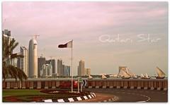 The Flag and Towers (qatari star) Tags: star flag towers doha qatar الأبراج البحر العلم قطر الدوحة qatari شراع كورنيش سفينة الشرطة