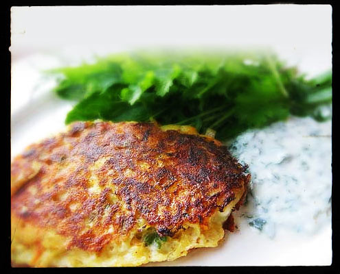 Potato, Carrot & Feta Rosti with Herbed Yoghurt Sauce
