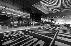 "Permanent art installation at the Durban ""international"" airport that draws its inspiration strongly form a number of artists that produced similar work at the hight of the Modern era to the likes of Dan Flavin and in particular, Victor Vasarely's  Vonal (Leon Oosthuizen) Tags: blackandwhite monochrome lines airport wideangle f28 durban nikond700 1424mm kingshaka"
