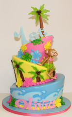 Luau Topsy Turvy (its-a-piece-of-cake) Tags: hawaiian topsyturvy fondant luaucake