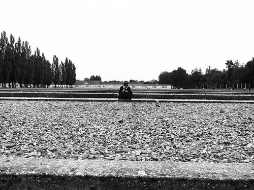 Nun in the middle of Dachau