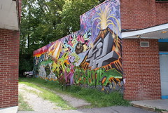 Really Cool Graffiti (swhall72) Tags: autostitch graffiti volcano nc dino capital north raleigh panoramic carolina blvd