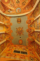 Slovenia - Ljubljana - Castle Chapel ceiling (Darrell Godliman) Tags: travel copyright orange building travelling castle tourism church strange architecture weird nikon europe heraldry coatofarms distorted interior eu wideangle chapel ceiling lookingup slovenia ljubljana unusual slovenija twisted europeanunion castlehill allrightsreserved skewed heraldic coatsofarms travelphotography cerkev europeseunie ljubljanskigrad slovenien ljubljanacastle unineuropea instantfave unioneuropenne castlechapel republikaslovenija omot  travelphotographer flickrelite dgphotos darrellgodliman wwwdgphotoscouk d300s dgodliman nikond300s slovenialjubljanacastlechapelceilingdsc2502