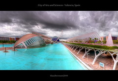 City of Arts and Sciences - Valencia, Spain (HDR Panorama) (farbspiel) Tags: travel vacation panorama holiday tourism water valencia architecture modern clouds photoshop photography pond spain nikon cloudy cyan wideangle journey blended handheld architektur stitching photomerge nikkor stitched dri hdr highdynamicrange futuristic spanien blend avantgarde ciudaddelasartesylasciencias valència postprocessing dynamicrangeincrease 18200mm lhemisfèric d90 photomatix lumbracle digitalblending cityofartsandsciences tonemapped tonemapping ciutatdelesartsilesciències detailenhancer topazadjust topazdenoise klausherrmann topazsoftware topazphotoshopbundle nikonafsdxnikkor18200mm13556gedvr