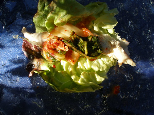 chicken and kimchee lettuce cup