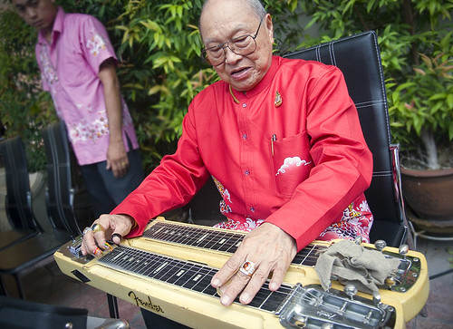 Baba with Fender steel guitar