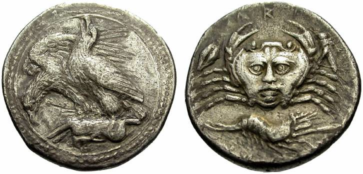 A Rare Greek Silver Drachm of Akragas (Sicily), the Crab's Carapace with a Human Face