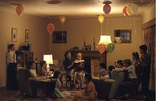 Jeff Wall, A Ventriloquist at a Birthday Party in October 1947, 1990