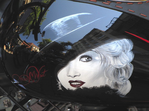 Hollywood movie star Mae West on a motocycle gas tank, Gastown Motorcycle Show n' Shine 2010 Had Hell Angels and Bike Enthusiasts Ogling