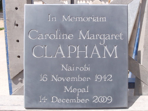 Cremation plaque for Caroline Clapham, Mepal Churchyard, near Ely.