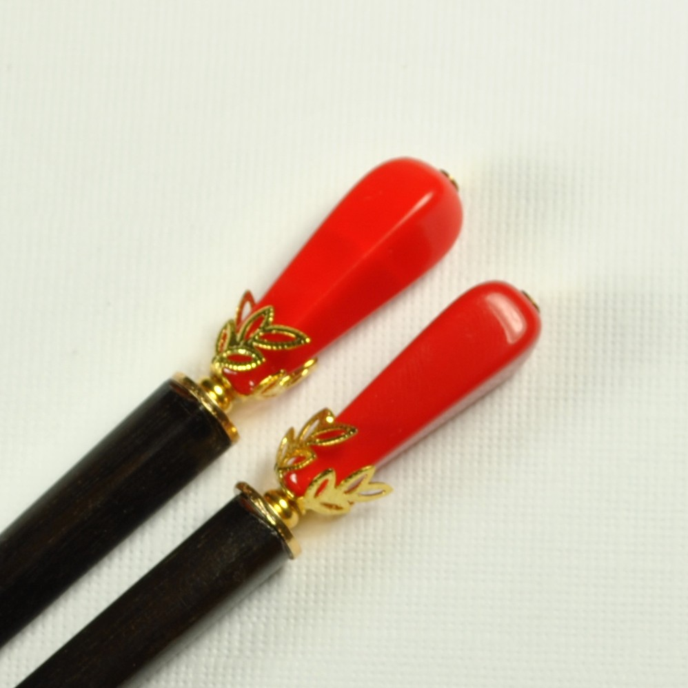 Hair Stick - Red with Gold
