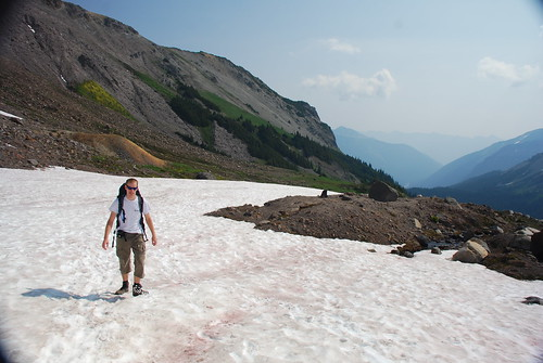 Marc walks across snow field near Inter Glacier, Mount Rainier National Park, WA