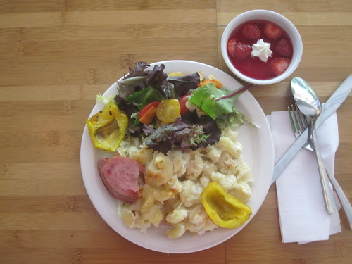 Mac & cheese, roasted veggies, piece of sausage, salad and jell-o from the bistro - $6