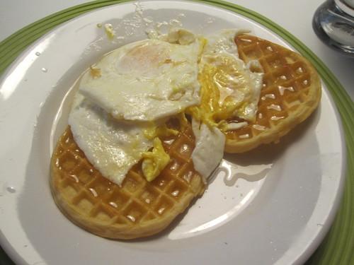 waffles, eggs