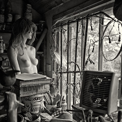 in the workshop (urchino) Tags: bw mannequin square chaos workshop essex sculptor wivenhoe guytaplin lumixgf1 20mmpancake