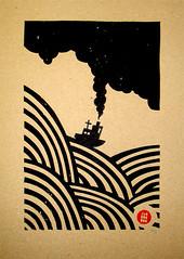 BOAT (Jambonbon) Tags: sea brown black illustration print boat waves drawing screen manila duplicator jambonbon yostograph wwwjambonboncom