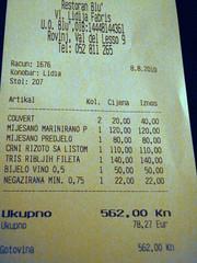 The bill - Restaurant Blu Rovinj