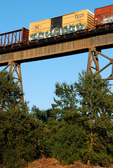 Ichabod (huntingtherare) Tags: trestle bridge train bench graffiti freight benching